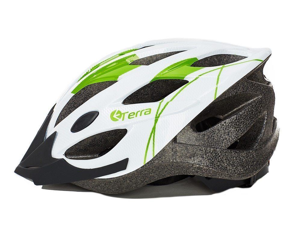 Шлем взрослый, 19 вент. отверстий, размер L(58-61), цвет белый с зеленым
